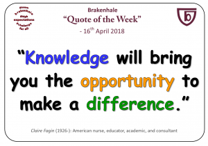 16.4.18 knowledge will bring you the opportunity to make a difference