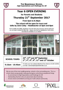 Open Evening Information Poster 21-9-17