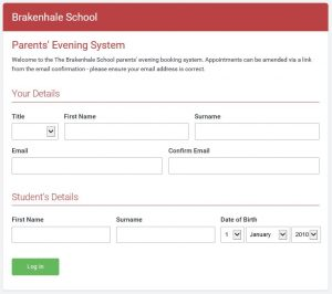 Parents' Evening online booking system log in screen image